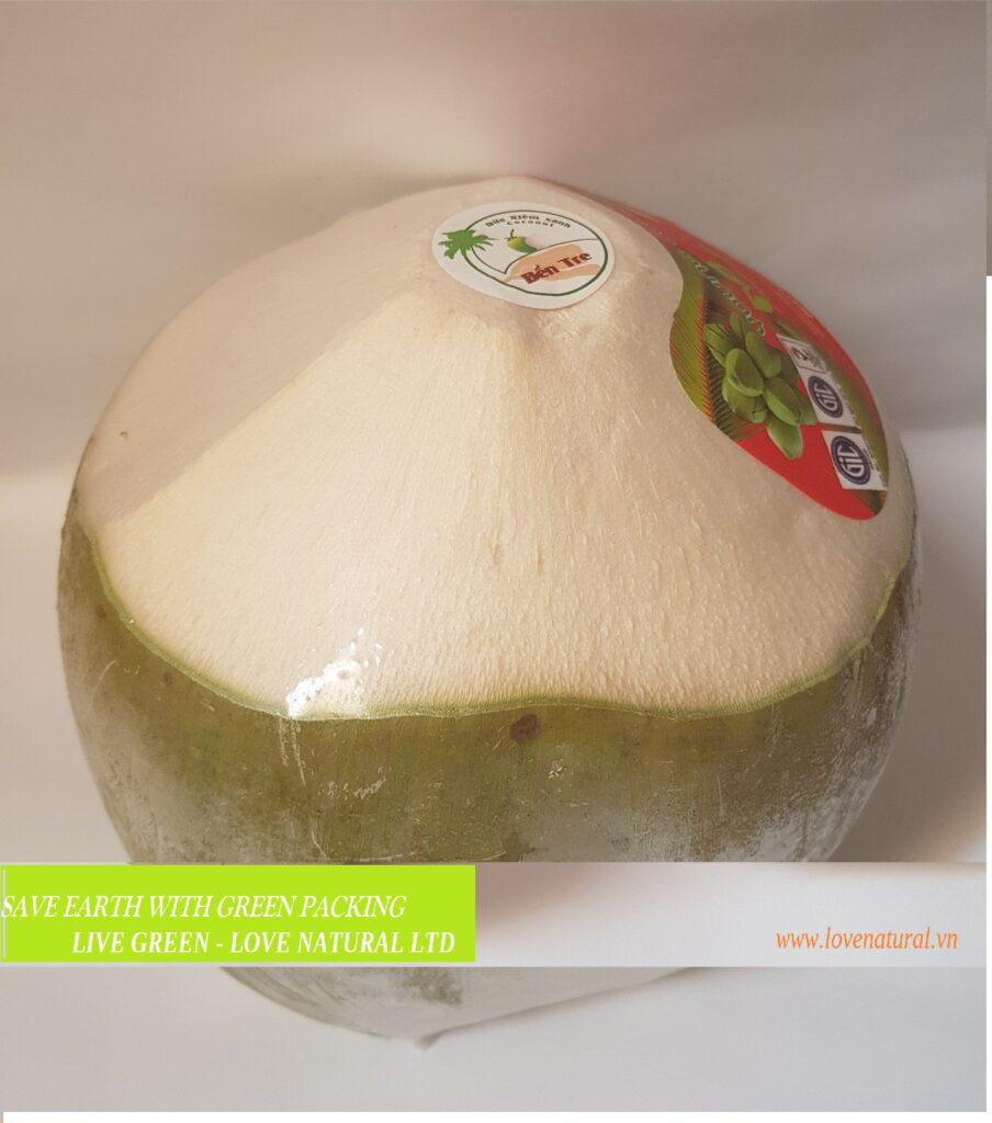 Fresh green peel young coconut